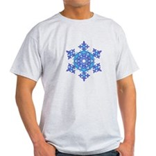 Silver and Blue Snowflake T-Shirt