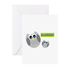Blessed with cute owls Greeting Cards