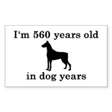 80 birthday dog years doberman 2 Decal
