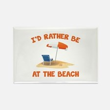 I'd Rather Be At The Beach Rectangle Magnet