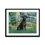 Bridge & Black Lab Framed Panel Print