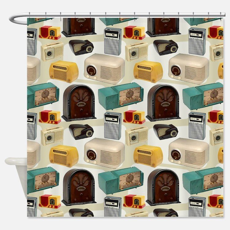Vintage Radio Pattern 3 Shower Curtain