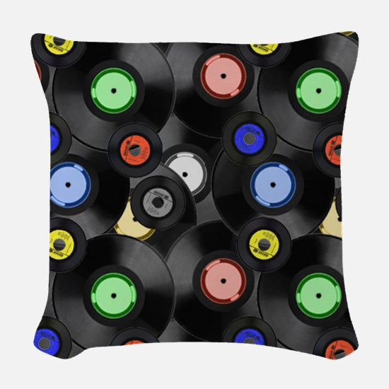 Vinyl Records Pattern 3 Woven Throw Pillow