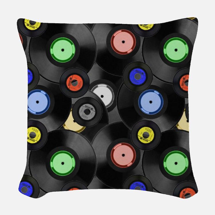 Vinyl Records Pattern 3 Woven Throw Pillow