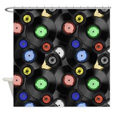 Vinyl Records Pattern 3 Shower Curtain