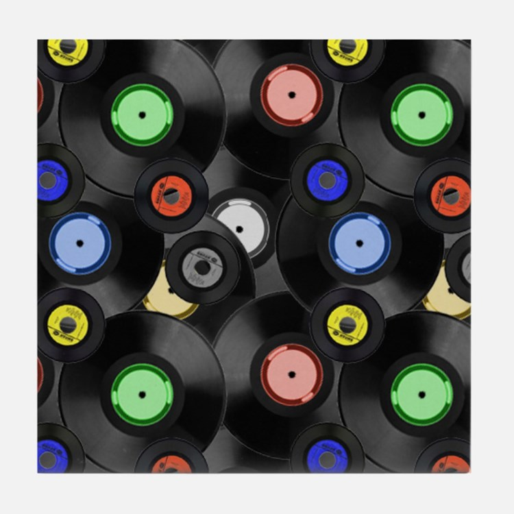 Vinyl Records Pattern 3 Tile Coaster
