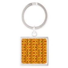 Retro Red, Brown, Yellow Square Pattern 3 Keychain