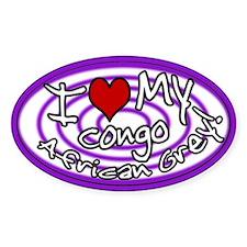 Hypno I Love My Congo Oval Sticker Purple
