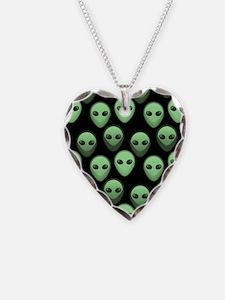 Black Green Alien Pattern 3 Necklace