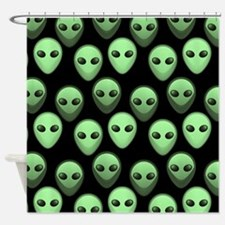 Black Green Alien Pattern 3 Shower Curtain