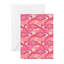Pink Flamingo Pattern 2 Greeting Cards