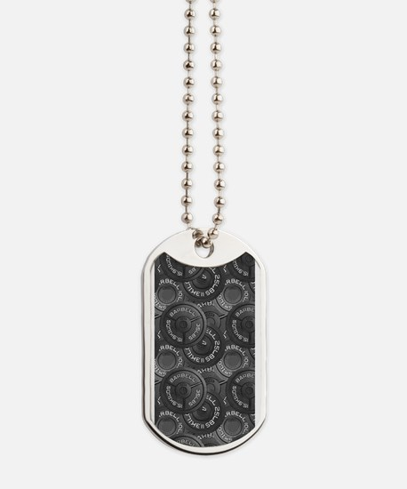Barbell Weight Lifting Pattern 1 Dog Tags