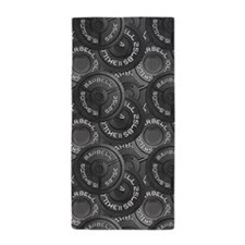 Barbell Weight Lifting Pattern 1 Beach Towel