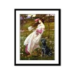 Windflowers & Black Lab Framed Panel Print