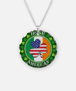 Irish American Necklace Circle Charm