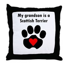 My Grandson Is A Scottish Terrier Throw Pillow