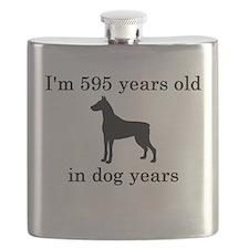 85 birthday dog years doberman Flask