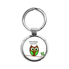 Owl always love you Round Keychain