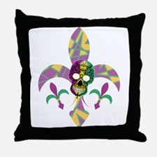 Fleur de lis Skull Throw Pillow