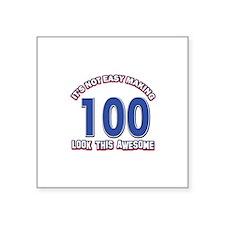"100 year old birthday designs Square Sticker 3"" x"