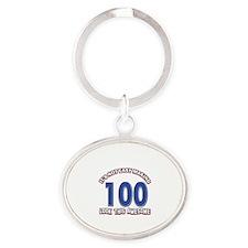 100 year old birthday designs Oval Keychain