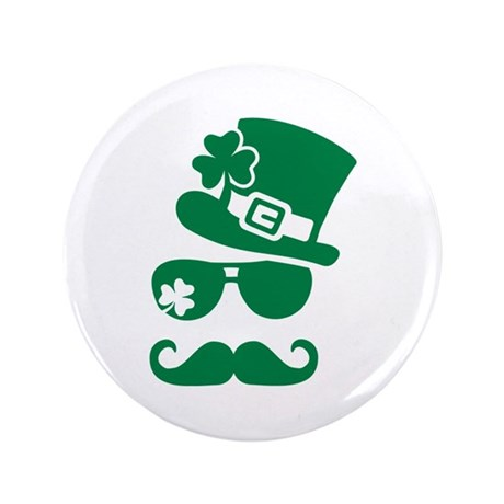"Irish sunglasses mustache 3.5"" Button (100 pack)"