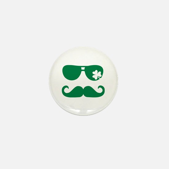 Shamrock sunglasses mustache Mini Button