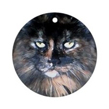 Unique Tortoise shell cat Ornament (Round)