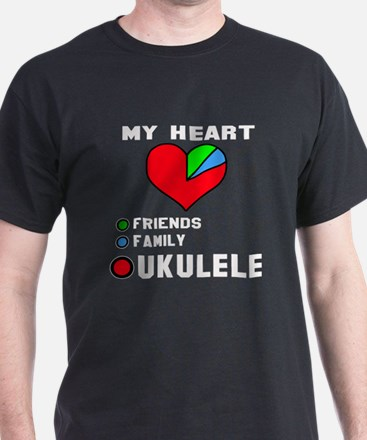 My Heart Friends Family and Ukulele T-Shirt