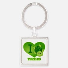 I Love Turtles Square Keychain