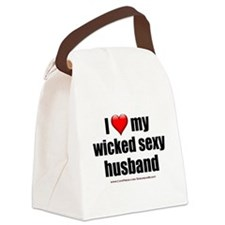 """""""Love My Wicked Sexy Husband"""" Canvas Lunch Bag"""
