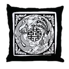 Chinese Dragon & Phoenix Symb Throw Pillow