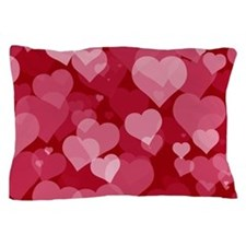 Red Valentine Hearts Pillow Case
