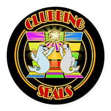 Clubbing Seals Disco Dancing Round Car Magnet