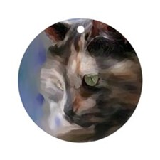 Cute Tortoise shell cat Ornament (Round)
