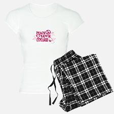 Peace Love Cupcakes Swirly Illustration Pajamas