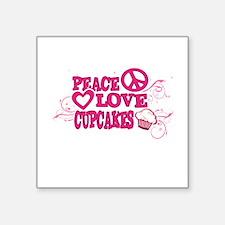 Peace Love Cupcakes Swirly Illustration Sticker