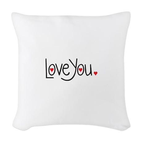 love you Woven Throw Pillow