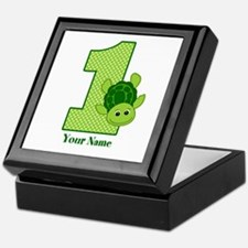 Personalized Turtle 1st Birthday Keepsake Box