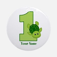 Personalized Turtle 1st Birthday Ornament (Round)
