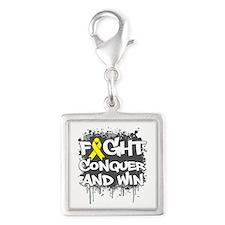 Suicide Prevention Fight Silver Square Charm