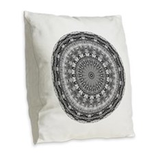 Mandala Magic 3 Burlap Throw Pillow