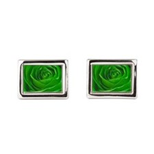 Abstract Center of a Green Rose Cufflinks