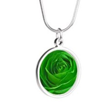 Abstract Center of a Green R Silver Round Necklace