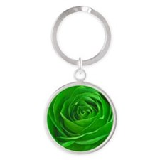 Abstract Center of a Green Rose Round Keychain