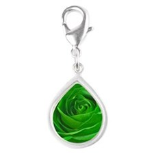 Abstract Center of a Green  Silver Teardrop Charm