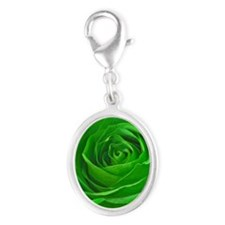 Abstract Center of a Green Rose Silver Oval Charm