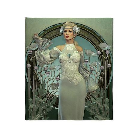 Art Nouveau White Lady Throw Blanket