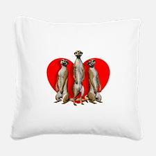 Heart Meerkats Square Canvas Pillow