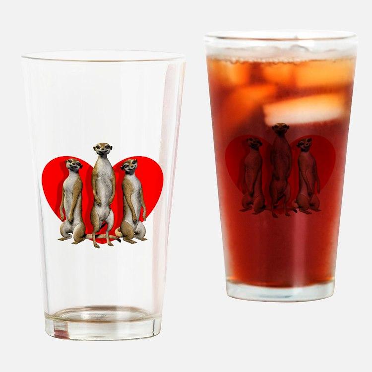 Heart Meerkats Drinking Glass